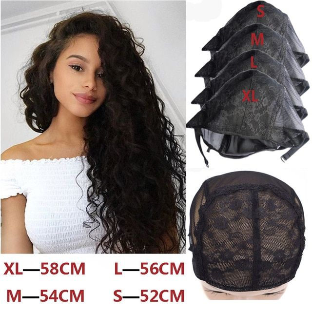 Fashion Style 1 Pcs Double Lace Wig Caps For Making Wigs And Hair Weaving Stretch Adjustable Wig Cap Hot Black Dome Cap For Wig Hair Net Hairnets Hair Extensions & Wigs
