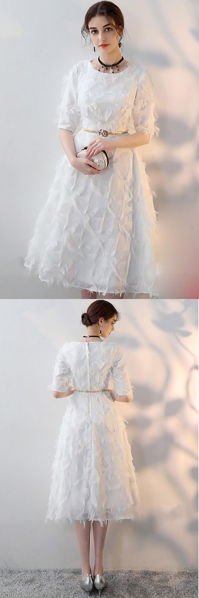 White feathers tea length party dress with sleeves mxl