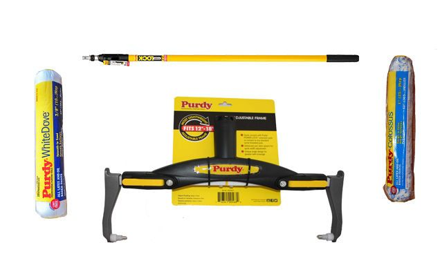 Purdy PowerLock Extension Pole & Adjustable Paint Roller Frame & 2 x 12  Sleeves
