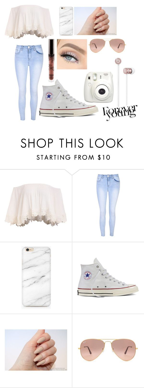 """Forever young"" by taylapayno ❤ liked on Polyvore featuring Glamorous, Converse, Ray-Ban, Beats by Dr. Dre and Fujifilm"