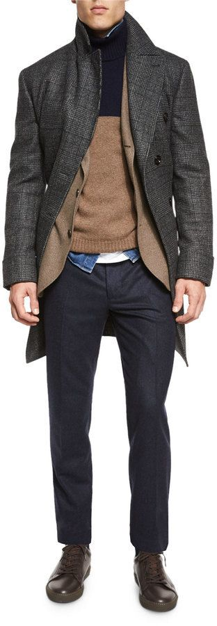 $4,710, Brunello Cucinelli Plaid Double Breasted Wool Overcoat Gray. Sold by Neiman Marcus. Click for more info: https://lookastic.com/men/shop_items/387371/redirect