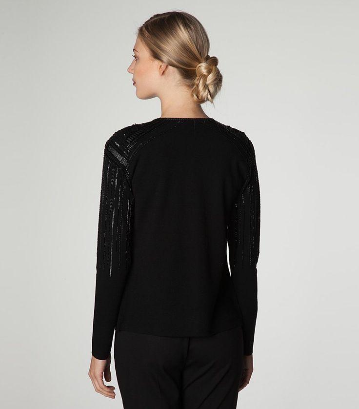 RENA LANGE   Vest gebreid in zuivere wol met pailletten en kralen - hoogwaardig gevoerd met pure zijde - zwart (Rugzijde)