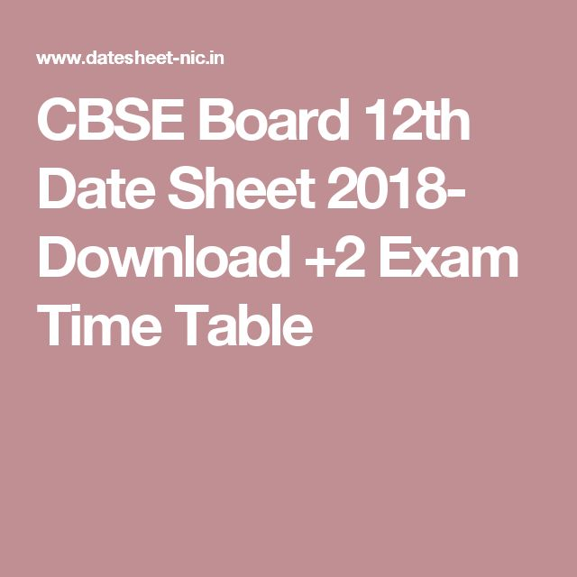 CBSE Board 12th Date Sheet 2018- Download +2 Exam Time Table