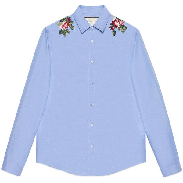 Gucci Embroidered Cotton Duke Shirt ($835) ❤ liked on Polyvore featuring men's fashion, men's clothing, men's shirts, men's casual shirts, tops, cotton, men, ready-to-wear, shirts and gucci mens shirts