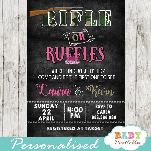 Rifle or Ruffles Gender Reveal Invitations featuring both team Camo and Pink against a chalkboard backdrop. This fun design is perfect for a gender reveal baby shower party with all your family and friends.