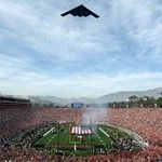 Jan 1, 2018; Pasadena, CA, USA; General view of the flyover before the 2018 Rose Bowl college football playoff semifinal game between the Georgia Bulldogs and the Oklahoma Sooners at Rose Bowl Stadium. Mandatory Credit: Kirby Lee-USA TODAY Sports