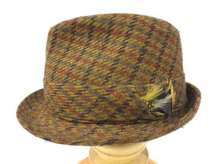 """Vintage Wool Tweed Fedora, Biltmore Hat, Clear Brown to Black, Feathers, 6 7/8"""""""