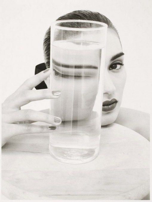 The more water in the glass the more distorted the world view. David Seidner, Rosima, ca. 1985