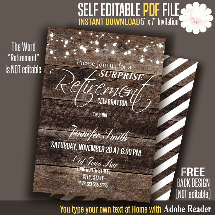 Retirement invitation, Rustic Retirement invite, Printable Rustic wood invitation, Self Editable PDF File A122 by FiveDuck on Etsy https://www.etsy.com/listing/386116904/retirement-invitation-rustic-retirement