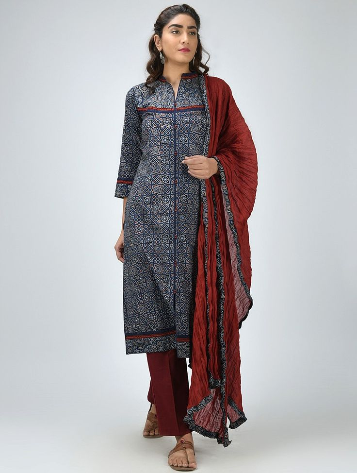 Buy Blue Ajrakh Printed Cotton Kurta Women Kurtas Online at Jaypore.com