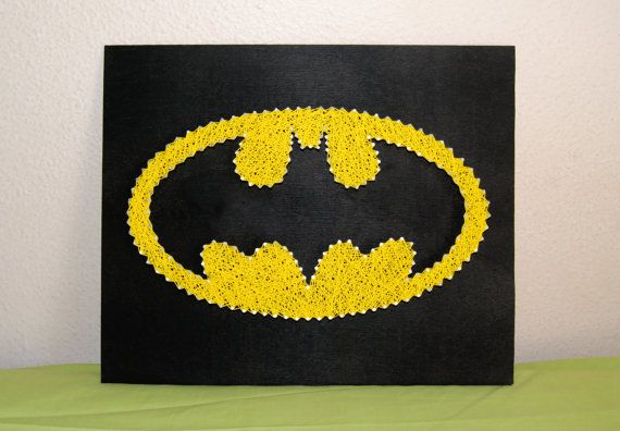 Batman Symbol Picture String Art by GeekTributeHandmade on Etsy