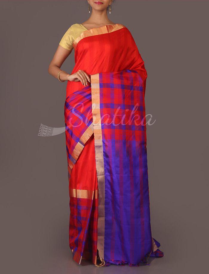 Chandana Half Check Contrast Pallu Pure #MulberrySilkSaree