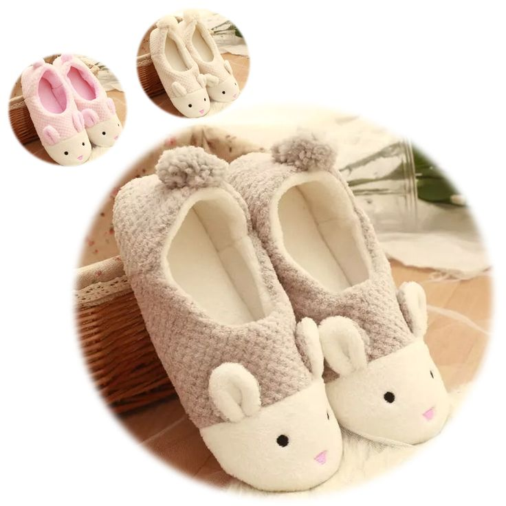 Bunny Girls Boys Women Men Soft Warm Slippers Flat Mules Coral Velvet Shoes