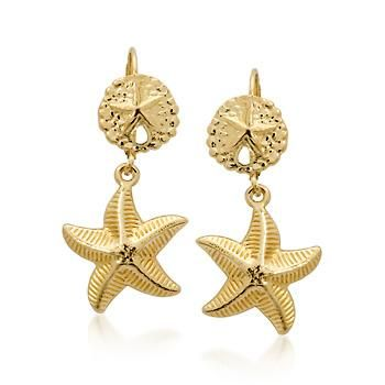 Ross-Simons - 14kt Yellow Gold Sand Dollar and Starfish Drop Earrings - #239127