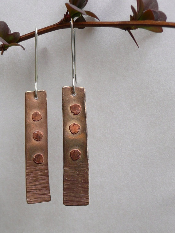 Bronze and Copper Riveted Earrings on Etsy