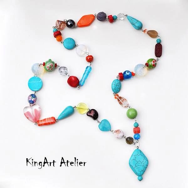 Colorful natural stone, glass bead necklace by KingArt Atelier