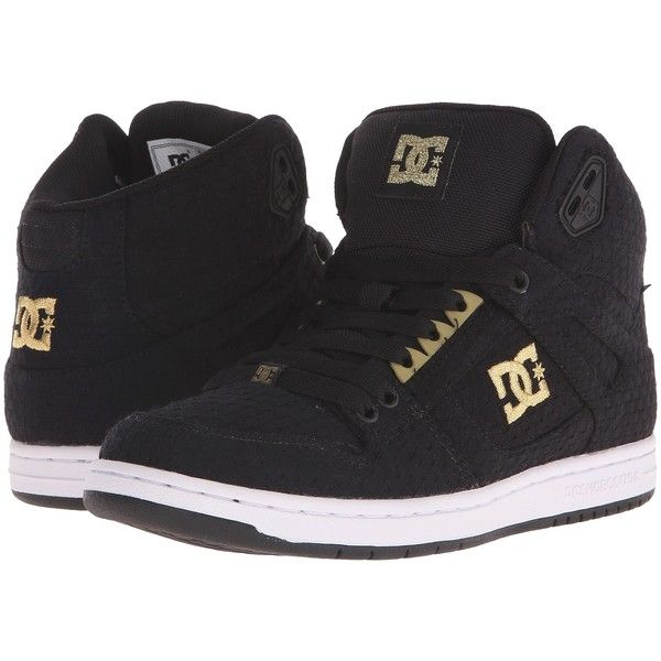 DC Rebound High TX SE (Black/White/Gold) Women's Skate Shoes ($55) ❤ liked on Polyvore featuring shoes, multi, black and white shoes, breathable sneakers, hi tops, gold high-top sneakers and black and white high top sneakers