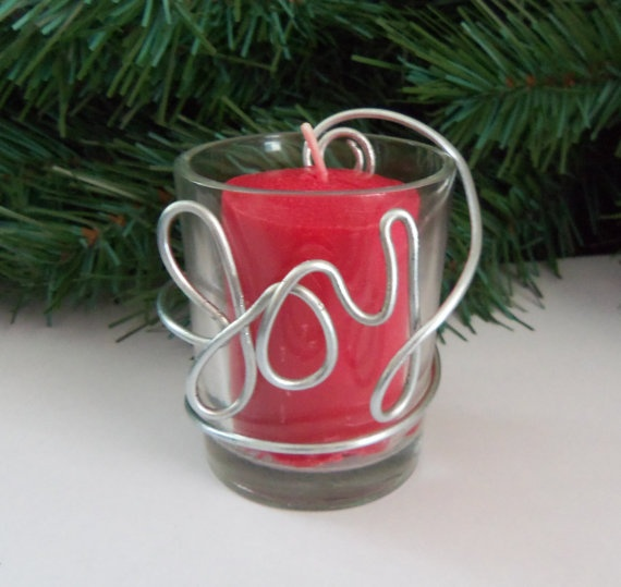 Christmas Candle Holder Joy  Wire and Glass by yellowroseaccents, $6.00
