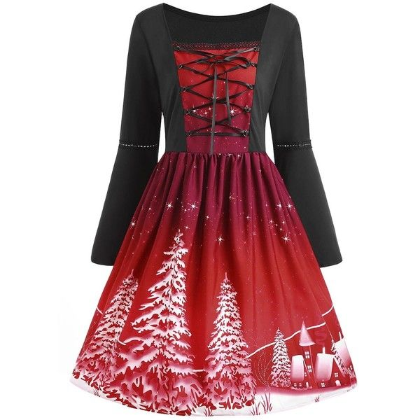 Christmas Tree Print Plus Size Lace Up Dress ($19) ❤ liked on Polyvore featuring dresses, pattern dress, womens plus dresses, red lace up dress, mixed print dress and lace front dress