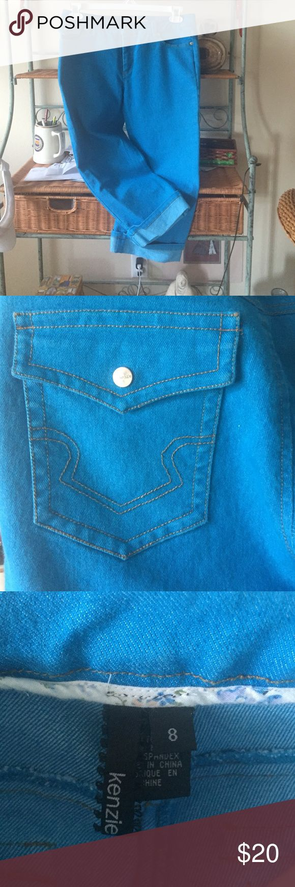 Kenzie crop cuff jeans Adorable bright blue turquoise ankle jeans, cuffed ankles. NWOT kenzie Jeans Ankle & Cropped