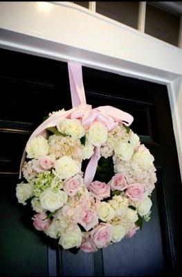 pink christening flower decoration
