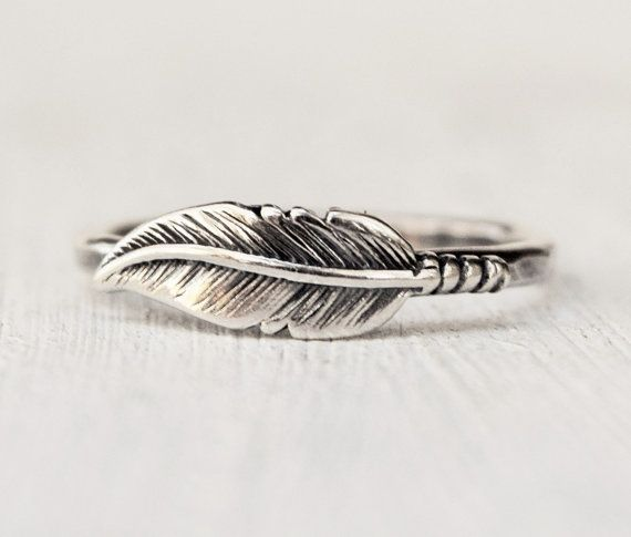 Sterling Silver Feather Ring - Boho - Stacking Ring - Bohemian Ring - Modern - Woodland - Nature Inspired - Gift For Her - Christmas