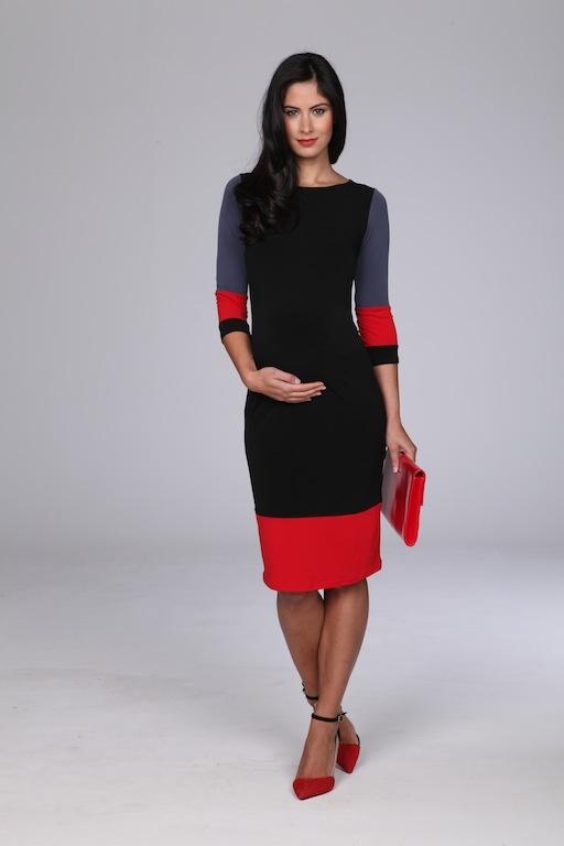Colour Block Maternity Office Wear Dress