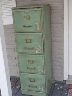 Green Antiqued Wood File Cabinet