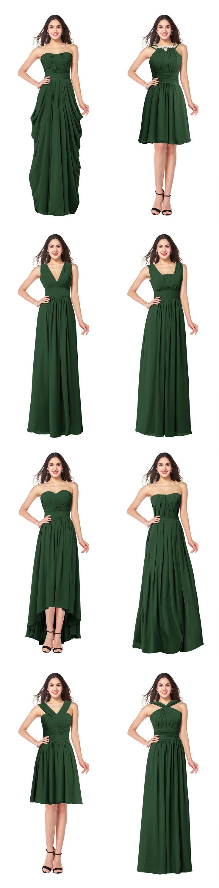 These 8 green chiffon bridesmaid dress are hot for 2016, including strapless, V neck, square neck, sweetheart.