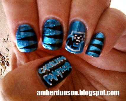 PANTHERS Nails! http://www.amberdidit.com/2011/11 - 47 Best Carolina Panthers Makeup Hair & Nails Images On Pinterest
