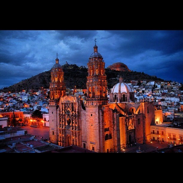 Seriously one of my favorite places in earth. I love Zacatecas. I stayed at a hostel over looking this cathedral :)