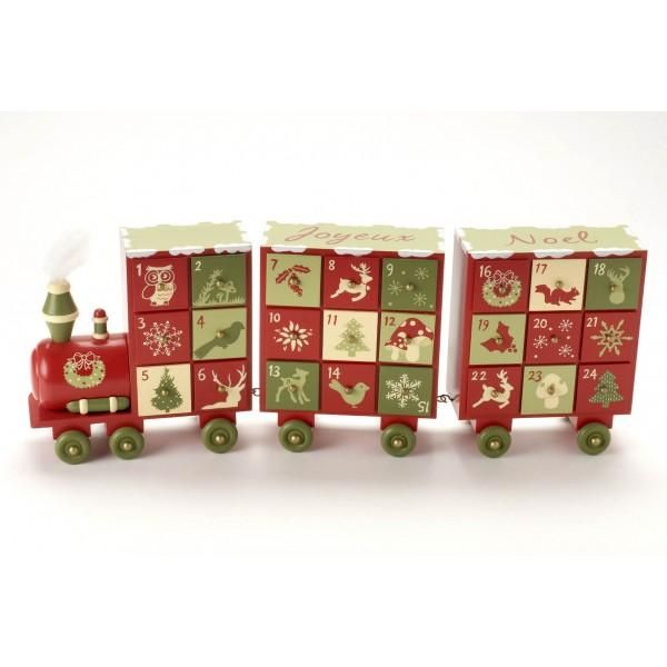 Red and Shades of Green Wooden Advent Calendar Train - EarlyWhirly - The Best…