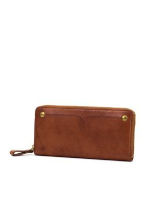 Frye Campus Rivet Zip Wallet - Saddle - One Size
