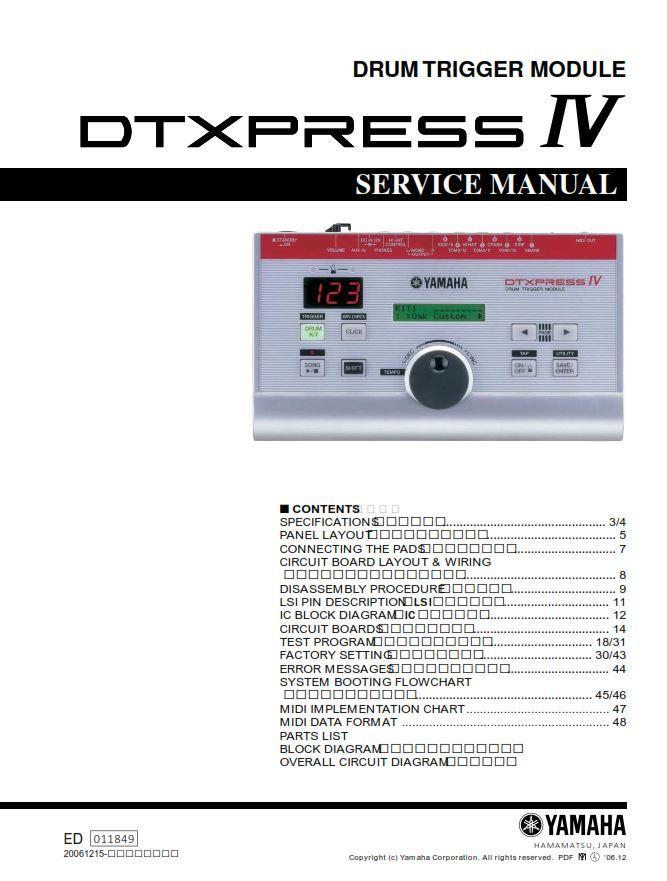 Yahama Dtxpress Iv Drum Trigger Module Service Manual And Repair Guide Repair Guide Manual Circuit Board