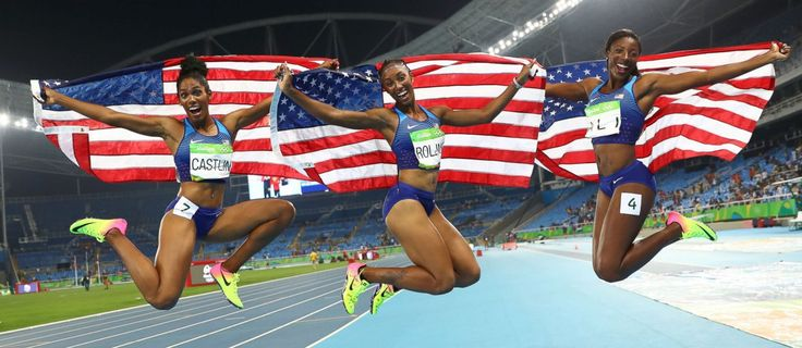 Bronze medalist Kristi Castlin, Gold medalist Brianna Rollins and Silver…