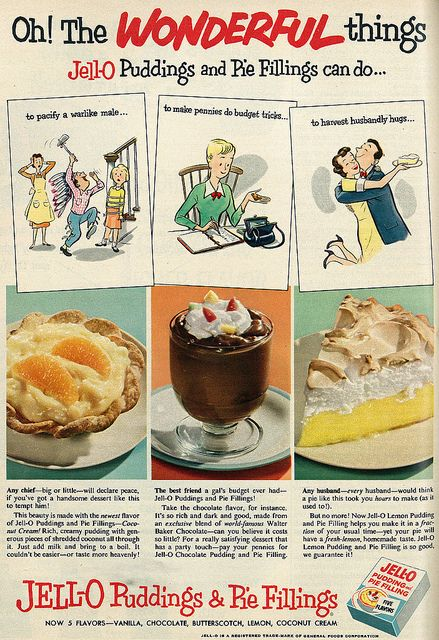 "1953 Illustrated Food Ad, Jell-O Puddings & Pie Fillings, ""Wonderful Things"""
