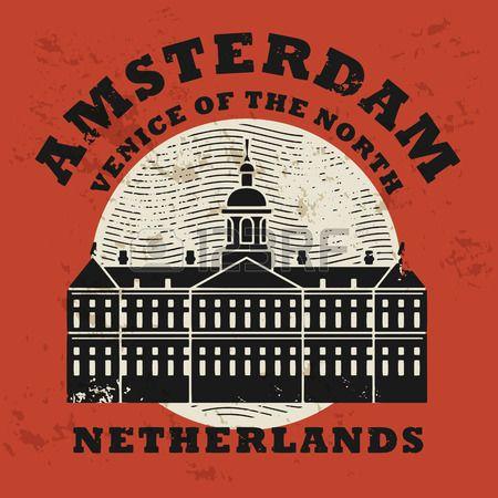 Stamp set słowa Amsterdam, Holandia wewnątrz photo