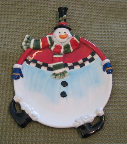 Raymond Briggs The Snowman Christmas Tree Decorations: Fitz AND Floyd Sullivan THE Snowman Canape Plate 2006
