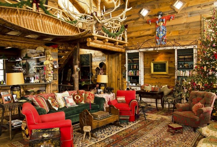 Living Room, Interesting Wooden Cottage Christmas Living Room Design Ideas With Christmas Decoration And Classic Carpet Puffy Sofa Beds Featuring Antique Wooden Table: Christmas Living Room Decorating Ideas