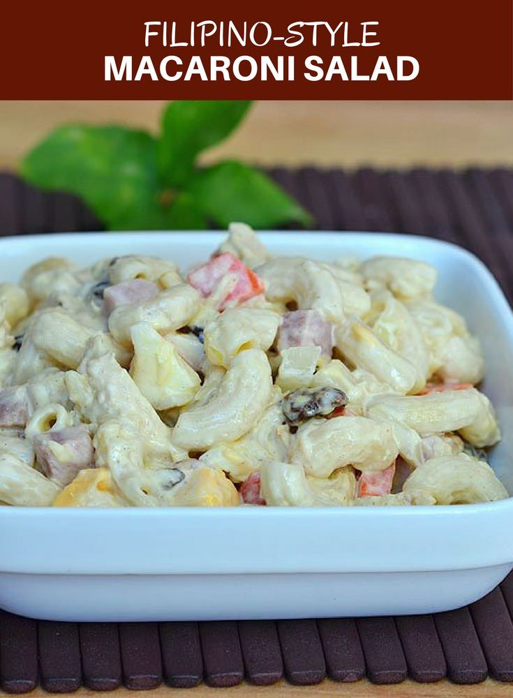 Filipino-style Macaroni Salad loaded with chicken, ham, cheese, pineapple and sweet relish is a must for any party or celebration. It's hearty, delicious, and a sure crowd favorite! via @lalainespins