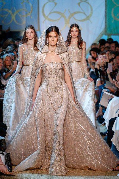 Natalie Salamunec , Sarah Abt and Alina Kozyrka for Elie Saab Fall 2017 Couture collection.