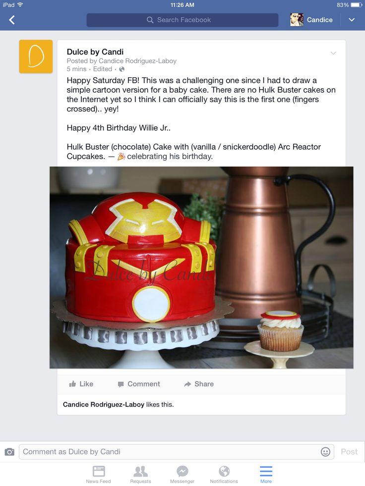 Hulk Buster Original Cake. Arc Reactor Cupcakes #dulcebycandi