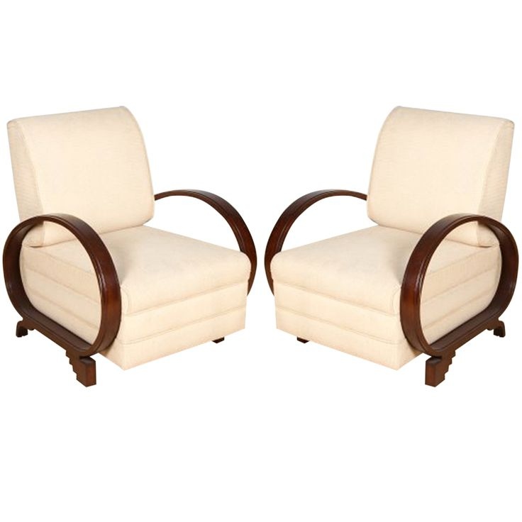 Exceptional Pair of Mumbai Art Deco Chairs  India  1930s  Supremely cool pair of Art Deco club chairs from Mumbai, circa 1930s.