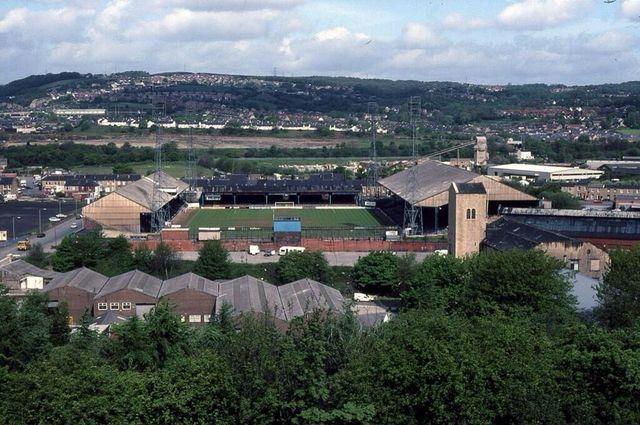 Leeds Road, Huddersfield Town in the 1980s.