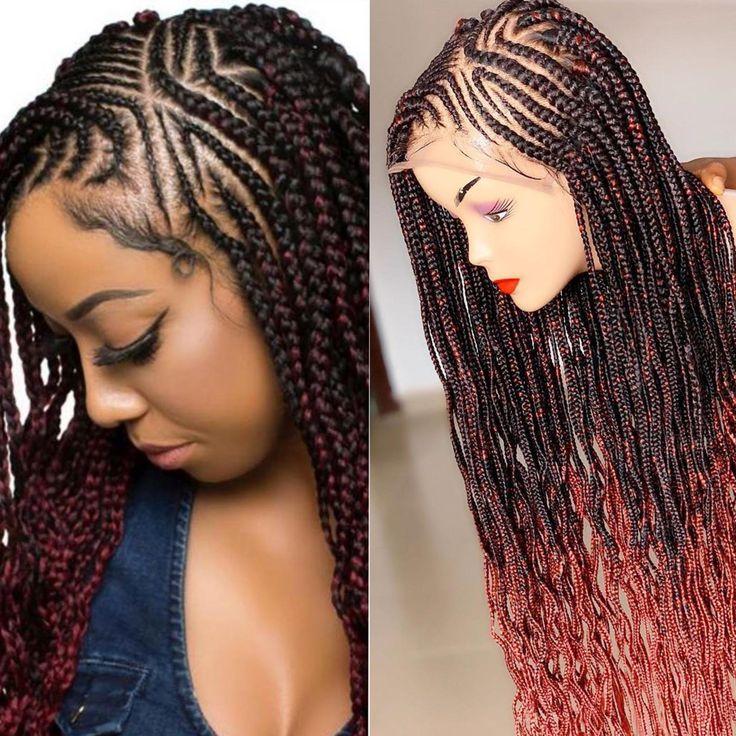 Braided Wig Zigzag Braids Frontal Cornrow Braids 1b 350 Etsy In 2021 Hair Ponytail Styles Braids Wig Cornrows