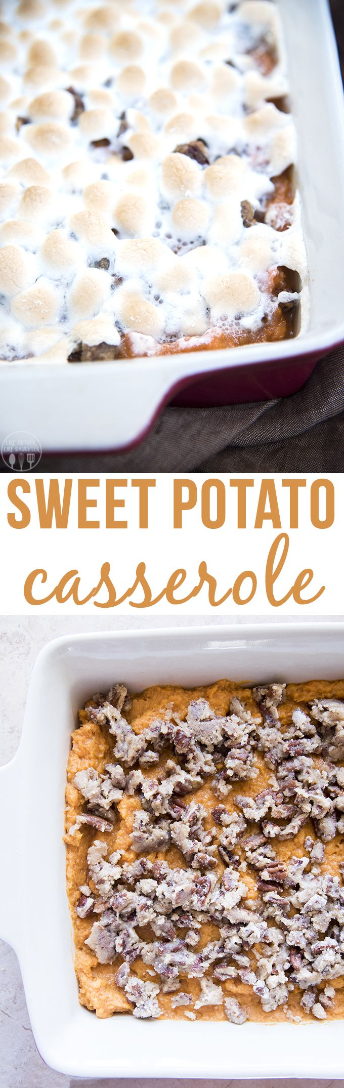 This is the best sweet potato casserole and the perfect addition to your Thanksgiving dinner! Its topped with caramelized pecans that add the perfect crunch taking it to the next level!