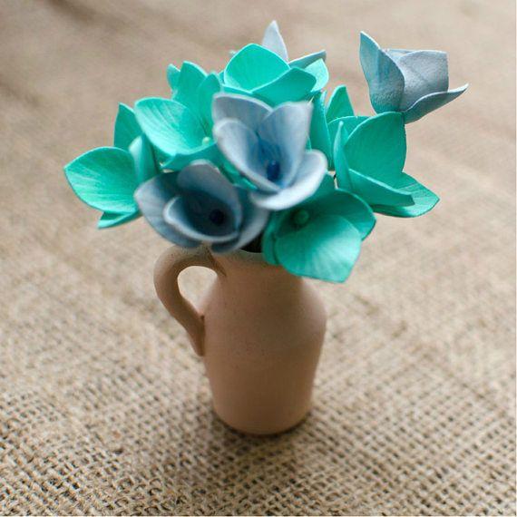 Mint Foam Flowers 6 pcs Mixed Flower Jewelery making Supplies