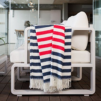 Throw Blanket, MELODY BORDER STRIPE, Super-Soft & Cozy by Haven & Earth, 60x80 (NAVY/NATURAL/RED)