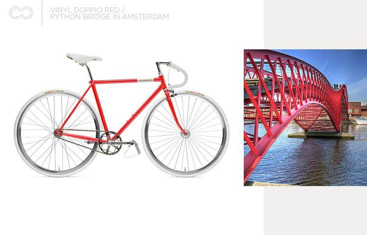 Creme Vinyl Doppio Red + Python Bridge in Amsterdam  #bike #creme #cycles #cremecycles #cycling #ride #mybike #freedom #lifestyle #art #life #love #city