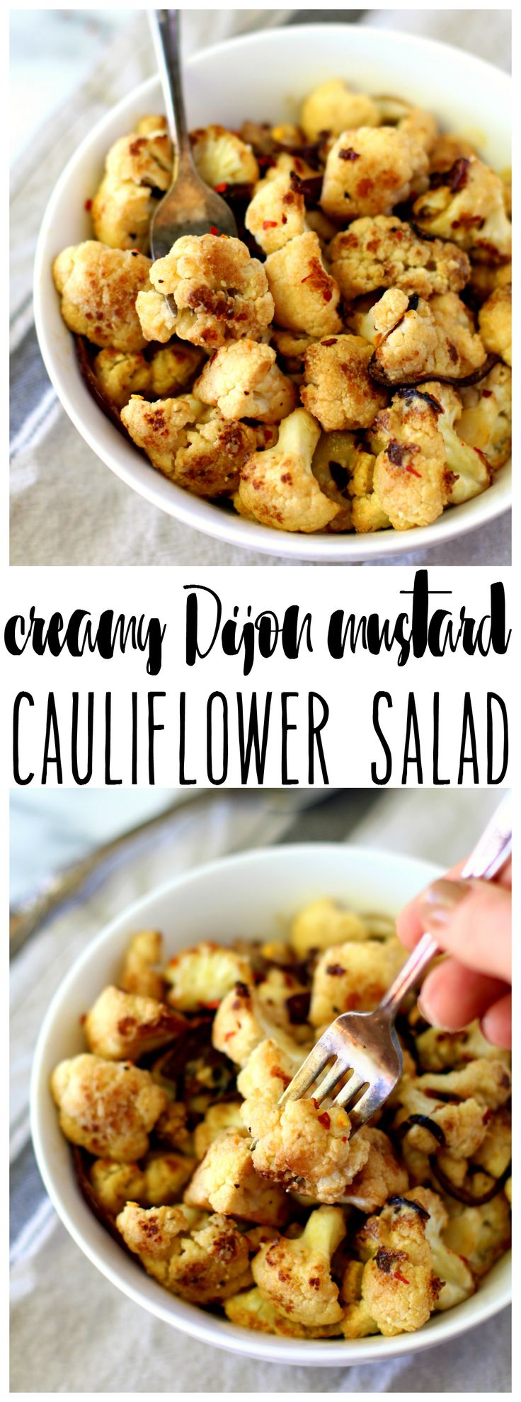 Creamy Dijon Mustard Cauliflower Salad! A pan-fried cauliflower superfood dish tossed in a vegan, gluten-free creamy Dijon mustard sauce.